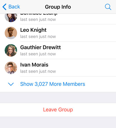 Group members screen with a collapsed member list.